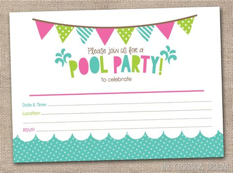 printable birthday invitations pool party girls pool party printable invitation fill by