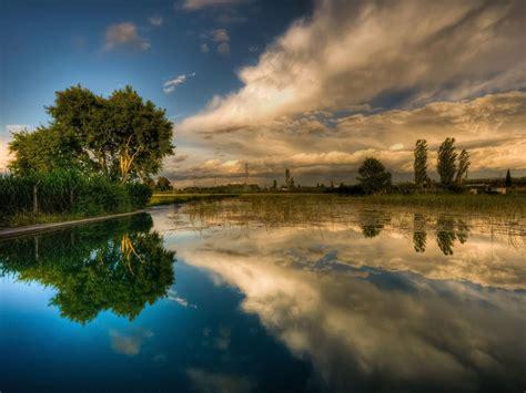 background lake sky reflecting hd wallpaper