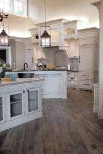 distressed and stained gray vintage hardwood floors
