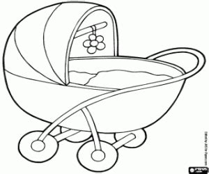 sketch baby in stroller coloring pages