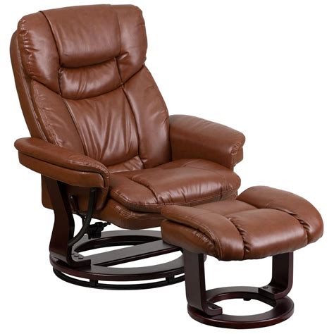 pedestal recliner and ottoman flash furniture contemporary brown vintage leather