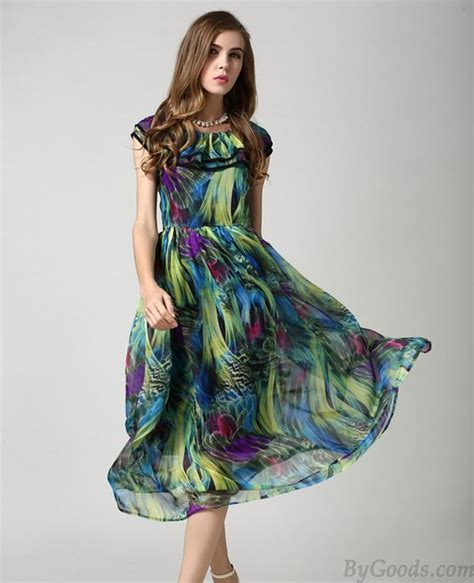 High Heels Gesper Bu Tb colorful retro fashion malachite green chiffon dress