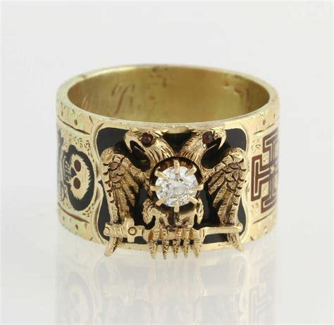 1800s 35ct antique scottish rite ring 14k 18k