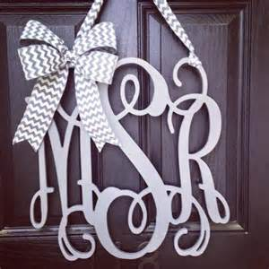 Front Door Monogram Letters 20 Inch 3 Letter Wooden Front Door Monogram With Bow Gray Monogram Wreath Gray And White