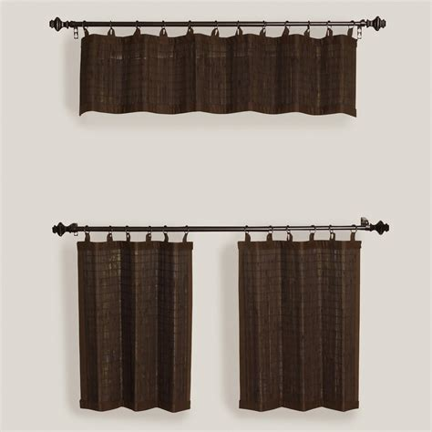 bamboo valance curtains espresso bamboo ring top window valance and tiers set of