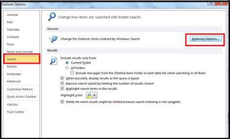 Outlook Email Search Not Working 2010 Unable To Search Email In Outlook 2010