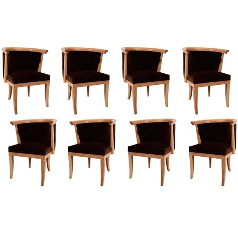 Oak Barrel Chairs For Sale by Eight Oak And Velvet Barrel Chairs By Romwebber For Sale