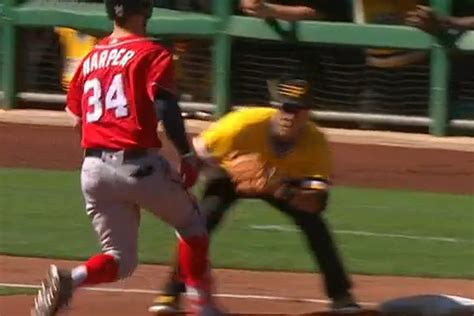 benches clear baseball nationals and pirates benches clear after fake tag