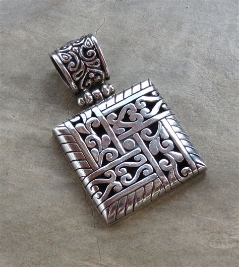 slver square pendant from bali sterling silver pendants
