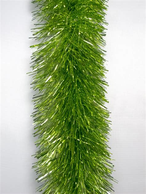 lime green metallic 8ply tinsel garland 10cm x 5 5m