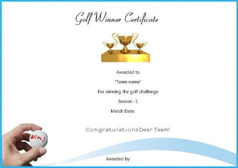 winner certificate template word adorable golf certificates for professional players free