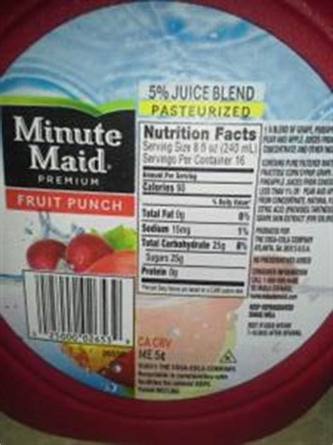 minute light fruit punch nutrition facts minute fruit punch calories