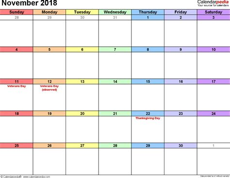 Calendar Nov 2018 November 2018 Calendars For Word Excel Pdf