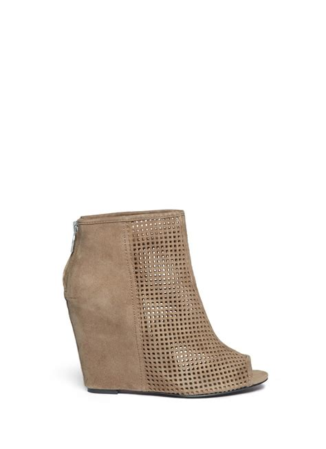 Pink Perforated Peep Toes From Hm by Lyst Ash June Perforated Suede Wedge Ankle Boots In