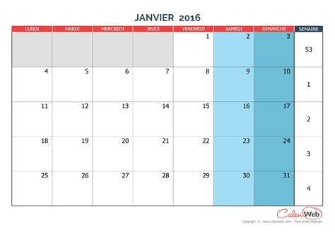 Calendrier Mois Calendrier Mensuel Mois De Janvier 2016 Version Vierge