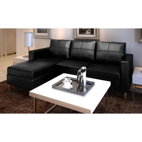 3 Seater L Shaped Artificial Leather Sectional Sofa Black L Shaped Sectional Sofa Sales