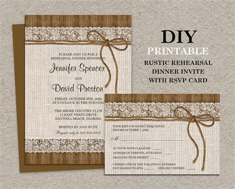 rsvp cards for dinner templates free rustic rehearsal dinners rehearsal dinner invitations and