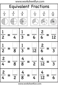 fractions equivalent free printable worksheets