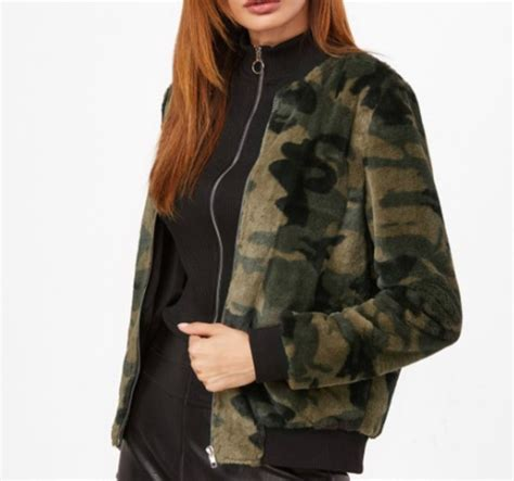 Camouflage Zip Coat jacket fur fur coat zip camouflage camo jacket