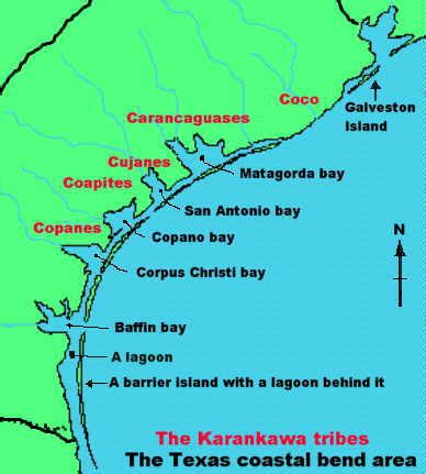 texas coastal cities map karankawa fact sheet texas indians