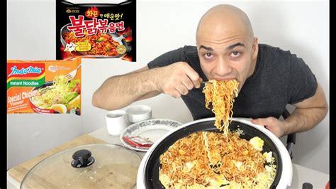Ramen Eat cheesy spicy ramen noodle 2 packs samyang 4 eggs mukbang show