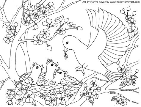 bird design coloring page birds coloring page