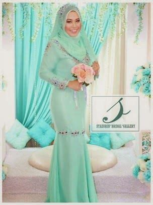 Dress Muslim Catrine Green Byk Warna baju tunang eksklusif warna blue silver attire exclusive stazurin pakej pernikahan