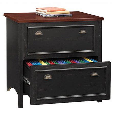 bush stanford lateral file cabinet antique black and