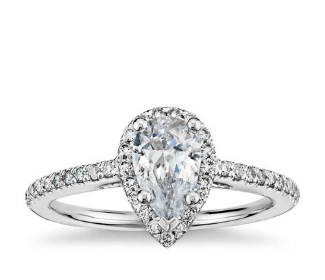 pear shaped halo engagement ring in 14k white gold