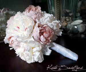 peonies bouquet wedding bouquet peony bouquet ivory and blush pink peony silk