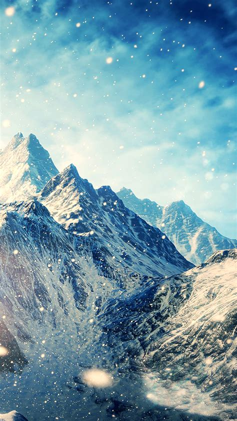wallpaper for iphone mountains snow mountains landscapes the elder scrolls v skyrim the