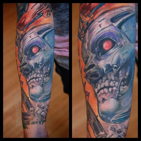 terminator tattoo montetattoo terminator sleeve color color