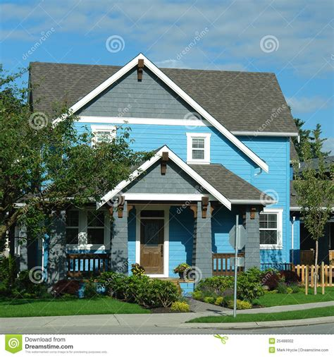 home blue new house home exterior bright blue stock photography