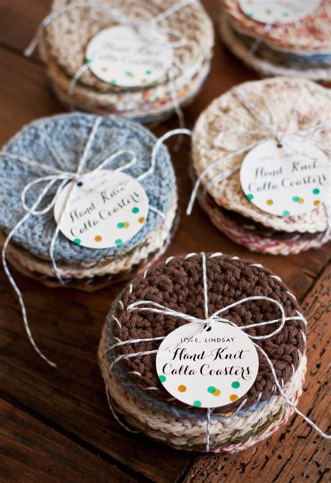 handmade gift idea knitted coasters evermine occasions