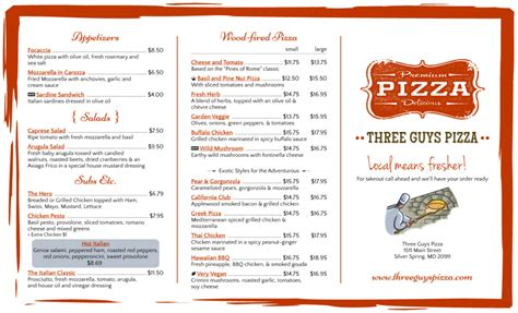 pizza menu template word free restaurant menu templates sles and templates