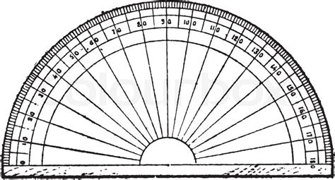 printable scalable protractor protractor isolated on white vintage engraving vector