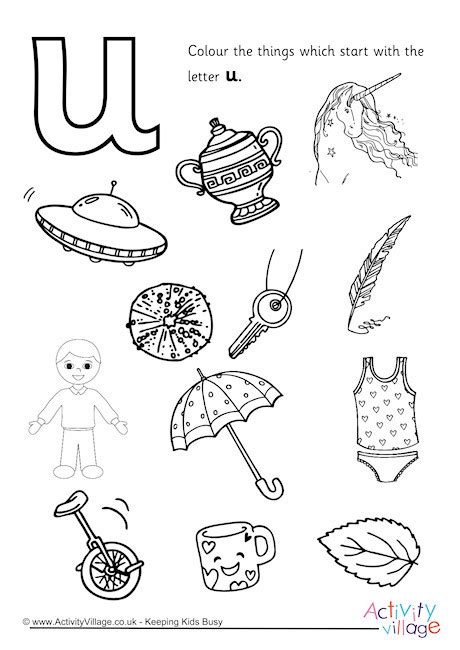 colors starting with u start with the letter u colouring page