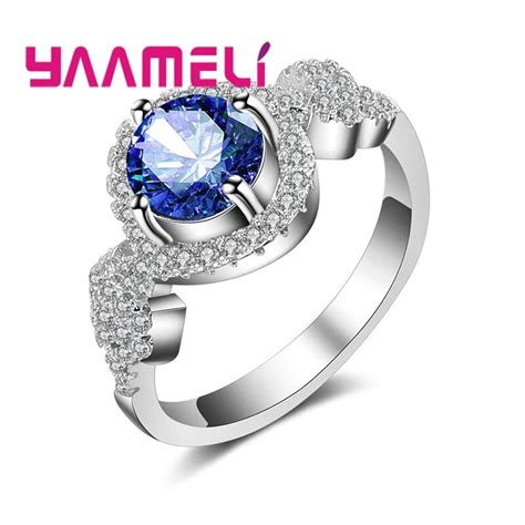 aliexpress com buy yaameli ring multicolor dance competition 925 sterling silver sparkling