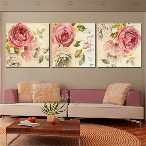 rose home decor 3 piece wall art painting classic flower rose canvas