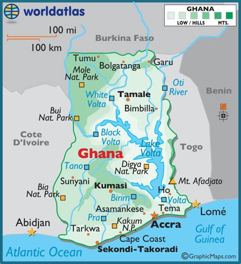 5 themes of geography ghana ghana large color map