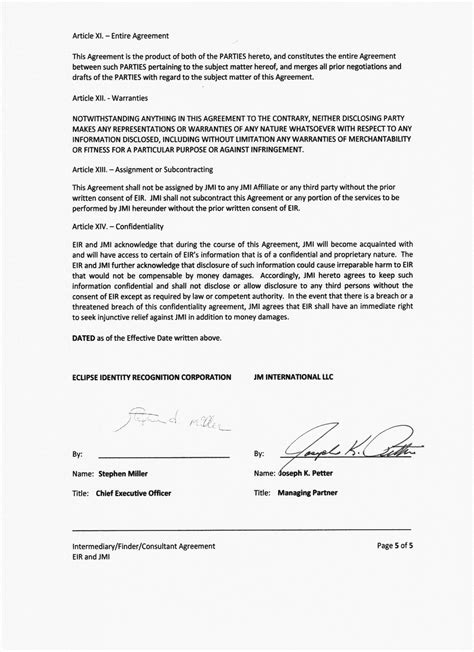 Intermediary Finder Consultant Agreement By Eclipse Identity Intermediary Agreement Template