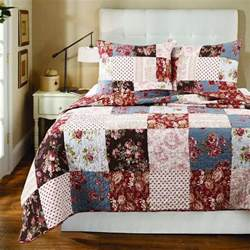 Country Patchwork Quilt Sets - soft all cotton blue white country patchwork