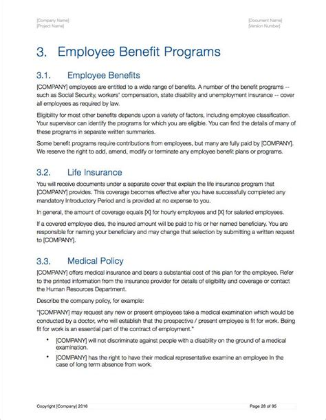 The Handbook Of Employee Benefits Sokolbroad Employee Benefits Handbook Template