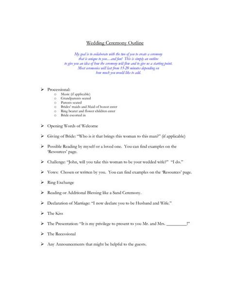 wedding vow template wedding ceremony outline wedding ideas