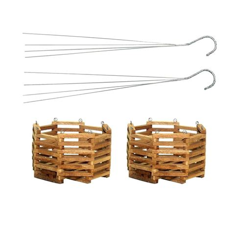 bett gro better gro 6 in wooden octagon hanging baskets 2 pack