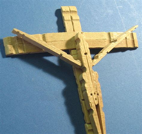 Handmade Crucifix - clothespin cross vintage handmade rustic folk crucifix