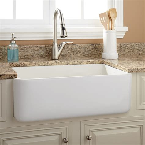Kitchens With Farm Sinks 30 Quot Durant Reversible Fireclay Farmhouse Sink Smooth Apron White Kitchen