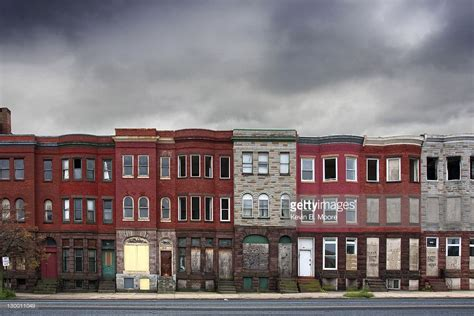 row houses abandoned rowhouses in baltimore city stock photo getty