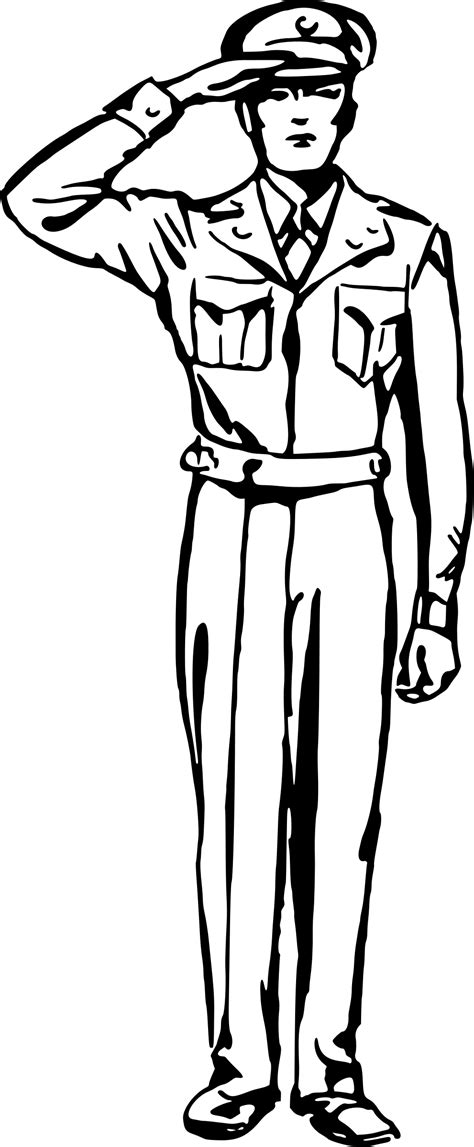 Line art Soldier Salute Drawing - Soldier png download