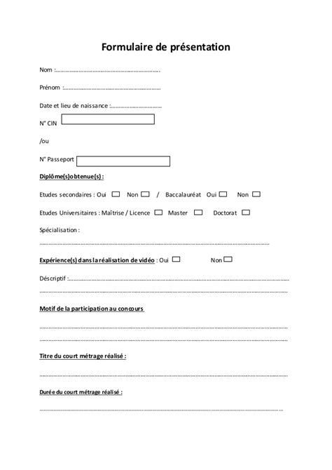 Formulaire de présentation concours- waaï